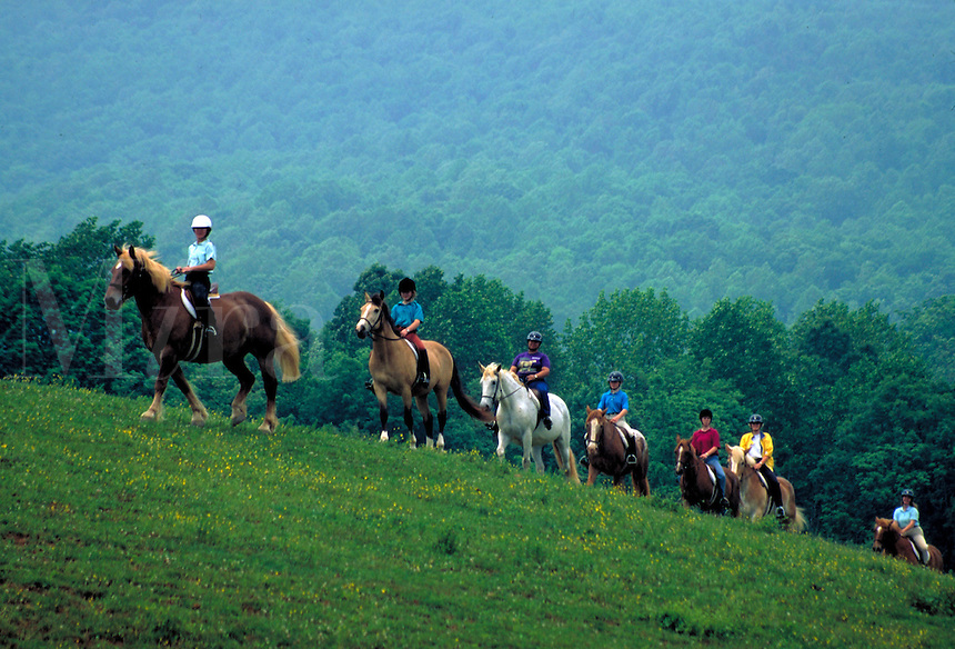 A group of young people is horseback riding along a trail through green hills with misty vegetation in the background. Front Royal Virginia, Skyline Drive.