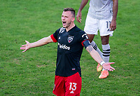 WASHINGTON, DC - NOVEMBER 8: Frederic Brillant #13 of D.C. United yells to his teammates during a game between Montreal Impact and D.C. United at Audi Field on November 8, 2020 in Washington, DC.