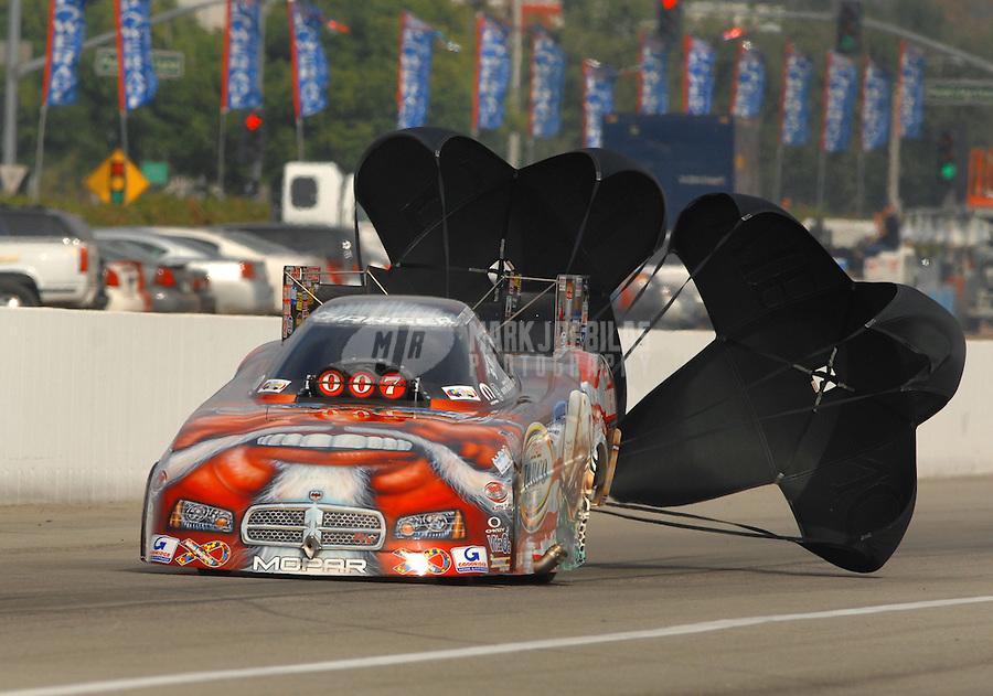 Nov 4, 2007; Pomona, CA, USA; NHRA funny car driver Mike Ashley during the Auto Club Finals at Auto Club Raceway at Pomona. Mandatory Credit: Mark J. Rebilas-US PRESSWIRE