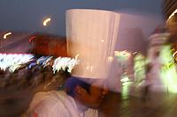 CHINA. Beijing. Nightscene on the Wangfujing shopping street in central Beijing. 2006.
