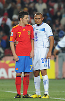 After scoring two goals on the night, Spanish forward David Villa drew even more attention from the Honduran defense. Spain defeated Honduras, 2-0, in their second match of play in Group H  in a match played Monday, June 21st, at Ellis Park in Johannesburg, South Africa at the 2010 FIFA World Cup..