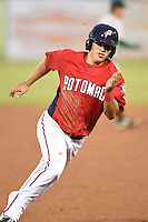 Potomac Nationals shortstop Stephen Perez (2) runs the bases during a game against the Lynchburg Hillcats on April 26, 2014 at Pfitzner Stadium in Woodbridge, Virginia.  Potomac defeated Lynchburg 6-2.  (Mike Janes/Four Seam Images)
