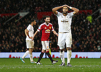 Ashley Williams of Swansea City rues a missed chance during the Barclays Premier League match between Manchester United and Swansea City played at Old Trafford, Manchester on January 2nd 2016