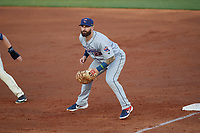 Jacksonville Jumbo Shrimp first baseman John Silviano (22) during a Southern League game against the Mobile BayBears on May 7, 2019 at Hank Aaron Stadium in Mobile, Alabama.  Mobile defeated Jacksonville 2-0.  (Mike Janes/Four Seam Images)