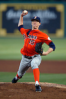 Thomas Eshelman #15 of the Cal State Fullerton Titans pitches against the Long Beach State 49'ers at Blair Field on March 22, 2013 in Long Beach, California. (Larry Goren/Four Seam Images)