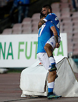 Calcio, Serie A: Napoli vs Juventus. Napoli, stadio San Paolo, 26 settembre 2015. <br /> Napoli's Lorenzo Insigne, right, celebrates with teammate Marek Hamsik after scoring during the Italian Serie A football match between Napoli and Juventus at Naple's San Paolo stadium, 26 September 2015.<br /> UPDATE IMAGES PRESS/Isabella Bonotto