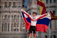 Grand Tour debutant, triple stage winner and white jersey / best young rider Tadej Pogačar (SVN/UAE-Emirates) celebrating on the podium in Madrid<br /> <br /> Stage 21: Fuenlabrada to Madrid (107km)<br /> La Vuelta 2019<br /> <br /> ©kramon