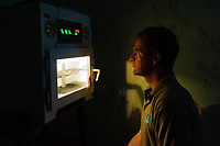 WWT aviculturist and head of conservation breeding Nigel Jarret  watching the temperature on an incubator containing Spoon-billed Sandpiper eggs. Chukotka, Russia. July.