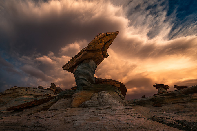 Blazing sunset after a clearing storm and 40mph winds at Stud Horse Point, Utah.