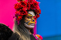 A young Mexican woman, dressed as La Catrina, a Mexican pop culture icon representing the Death, takes part in the Day of the Dead festival in Oaxaca, Mexico, 31 October 2019. Day of the Dead (Día de Muertos), a religious holiday combining the death veneration rituals of Pre-Hispanic cultures with the Catholic practice, is widely celebrated throughout all of Mexico. Based on the belief that the souls of the departed may come back to this world on that day, people gather together while either praying or joyfully eating, drinking, and playing music, to remember friends or family members who have died and to support their souls on the spiritual journey.