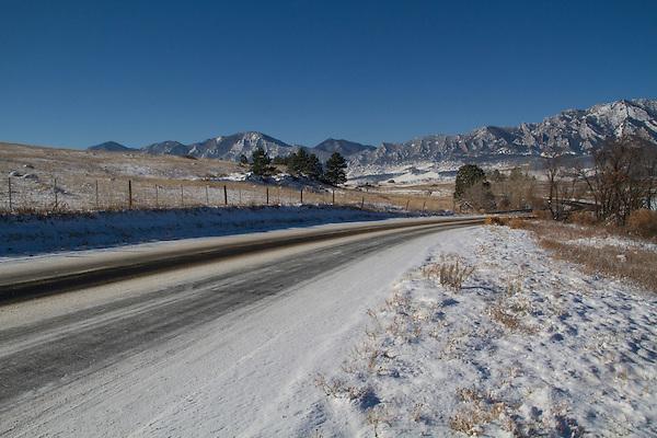 Rural road after snowstorm, Boulder, Colorado,