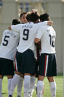 Benny Feilhaber, Clint Dempsey, Ante Razov, DaMarcus Beasley, and Sacha Kljestan celebrate Beasley's PK goal. The USA defeated China, 4-1, in an international friendly at Spartan Stadium, San Jose, CA on June 2, 2007.