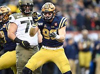 PHILADELPHIA, PA - DEC 14, 2019: Navy Midshipmen defensive end Jackson Perkins (96) is fired up after making a tackle in the backfield during game between Army and Navy at Lincoln Financial Field in Philadelphia, PA. The Midshipmen defeated Army 31-7. (Photo by Phil Peters/Media Images International)