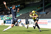 Connor Hall, Harrogate Town, crosses under pressure during Southend United vs Harrogate Town, Sky Bet EFL League 2 Football at Roots Hall on 12th September 2020