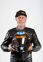 Feb 6, 2020; Pomona, CA, USA; NHRA top fuel nitro Harley Davidson motorcycle rider Rickey House poses for a portrait during NHRA Media Day at the Pomona Fairplex. Mandatory Credit: Mark J. Rebilas-USA TODAY Sports
