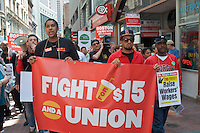 Fast Food Workers  from 18 Boston MA restaurants  join in national and global strike effort demanding $15/hour minimum wages 5.15.14