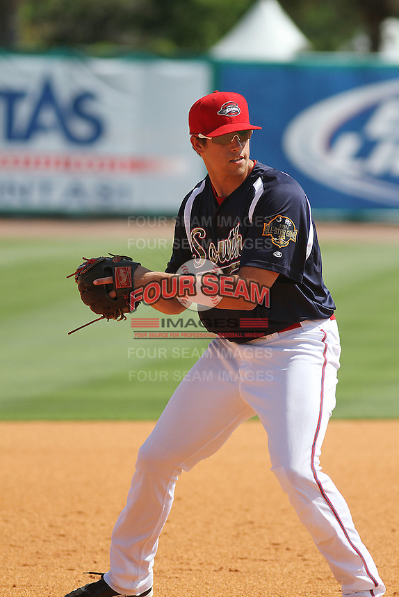 Greenville Drive third baseman Garin Cecchini #17 fielding his position during BP before the South Atlantic League All-Star game held at the Joseph P. Riley Jr.Ballpark in Charleston, South Carolina on June 19th, 2012.  The Northern division defeated the Southern division by the score of 3-2. (Robert Gurganus/Four Seam Images)