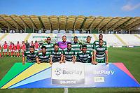 VALLEDUPAR - COLOMBIA, 21-03-2021: Valledupar F.C. y Barranquilla F.C. en partido por la fecha 12 del Torneo BetPlay DIMAYOR I 2021 jugado en el estadio Armando Maestre Pavajeau de la ciudad de Valledupar. / Valledupar F.C. and Barranquilla F.C. in match for the date 12 as part of BetPlay DIMAYOR Tournament I 2021 played at Armando Maestre Pavajeau in Valledupar city. Photo: VizzorImage / Adamis Guerra / Cont