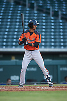 AZL Giants Orange Abdiel Layer (19) at bat during an Arizona League game against the AZL Cubs 1 on July 10, 2019 at Sloan Park in Mesa, Arizona. The AZL Giants Orange defeated the AZL Cubs 1 13-8. (Zachary Lucy/Four Seam Images)