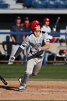 Korby Batesole (4) of the Fresno State Bulldogs bats against the Pepperdine Waves at Eddy D. Field Stadium on March 7, 2017 in Los Angeles, California. Pepperdine defeated Fresno State, 8-7. (Larry Goren/Four Seam Images)