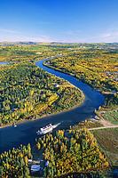 Aerial of Fairbanks, Alaska, sternwheeler River Boat Discovery on the Chena River.