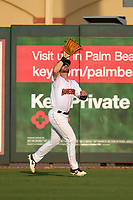 Jupiter Hammerheads outfielder J.D. Orr (12) catches a fly ball during a game against the Palm Beach Cardinals on May 11, 2021 at Roger Dean Stadium in Jupiter, Florida.  (Mike Janes/Four Seam Images)