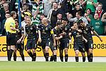 St Johnstone v Celtic…20.08.16..  McDiarmid Park  SPFL<br />James Forrest celebrates his goal<br />Picture by Graeme Hart.<br />Copyright Perthshire Picture Agency<br />Tel: 01738 623350  Mobile: 07990 594431