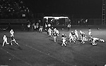 Bethel Park PA:  Defensive play with Ray Tedesco 61 and Gary Biro 81 making a great play on an end run. Others in the photo; Clark Miller 30, Chip Huggins 32, Dennis Franks 66, Glenn Eisaman 71, Mike Stewart 11. The offense and defense did not play well in the 12-6 defeat vs Montour. Montour's quarterback, Jim Daniels, killed the Blackhawks.  Jim Daniels was played his college ball at Pitt.  The defensive unit was one of the best in Bethel Park history only allowing a little over 7 points a game.