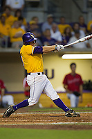 LSU Tigers outfielder Mason Katz #8 swings during the NCAA Super Regional baseball game against Stony Brook on June 10, 2012 at Alex Box Stadium in Baton Rouge, Louisiana. Stony Brook defeated LSU 7-2 to advance to the College World Series. (Andrew Woolley/Four Seam Images)
