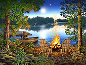 Dona Gelsinger, LANDSCAPES, LANDSCHAFTEN, PAISAJES, paintings+++++,USGE1932,#l#, EVERYDAY,campfire,lake,boat