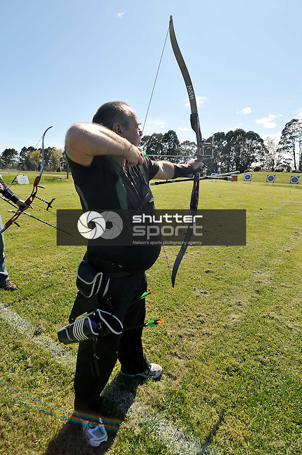 NELSON, NEW ZEALAND - SEPTEMBER 26: Archery at the Sherwood Archery Club during the NZCT South Island Masters Games, 26 September 2015, Nelson, New Zealand<br /> Photo: Marc Palmano/shuttersport.co.nz