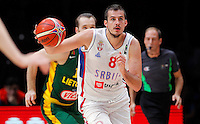 Serbia's Nemanja Bjelica controls the ball  during European championship semi-final basketball match between Serbia and Lithuania on September 18, 2015 in Lille, France  (credit image & photo: Pedja Milosavljevic / STARSPORT)