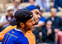 Paris, France, 3 june, 2019, Tennis, French Open, Roland Garros, Mens doubles: Jean Julien Rojer (NED) (L) and Horia Tacau (ROU)<br /> Photo: Henk Koster/tennisimages.com