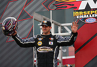 Mar 29, 2014; Las Vegas, NV, USA; NHRA Pro Stock Challenge driver Vincent Nobile during qualifying for the Summitracing.com Nationals at The Strip at Las Vegas Motor Speedway. Mandatory Credit: Mark J. Rebilas-
