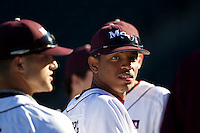Trey Massenberg (12) of the Missouri State Bears talks with teammates prior to a game against the Southern Illinois University- Edwardsville Cougars at Hammons Field on March 10, 2012 in Springfield, Missouri. (David Welker / Four Seam Images)