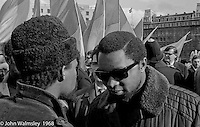 Visiting American Black Power members, anti-Vietnam war demonstration march from Trafalgar Sq to Grosvenor Sq Sunday 17th March 1968.