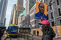 MARCH 28 - Minneapolis, MN: Protests and demonstrators block the city's light rail train traffic outside the Hennepin County Courthouse a day before the start Derek Chauvin Trial on March 28, 2021 in  Minneapolis, Minnesota. <br /> CAP/MPI/IS/CT<br /> ©CT/IS/MPI/Capital Pictures