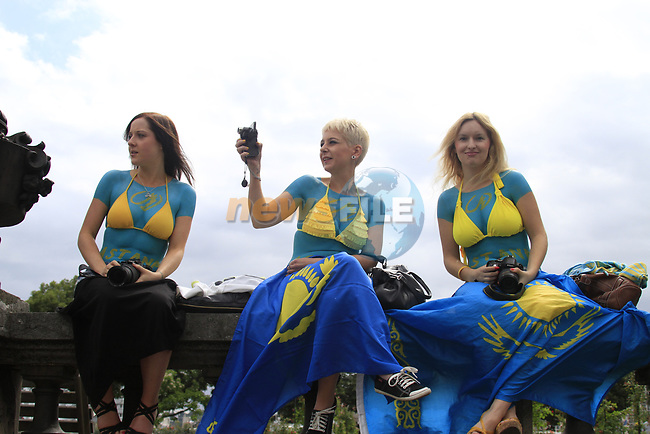 Astana fans cheer on their riders before the start of Stage 1 of the 99th edition of the Tour de France, running 198km from Liege to Seraing starting in Parc d'Avroy Liege, Belgium. 1st July 2012.<br /> (Photo by Eoin Clarke/NEWSFILE)