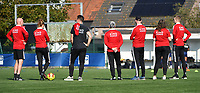 technical staff of OHL pictured looking their players during the warming up of a female soccer game between SV Zulte - Waregem and Oud Heverlee Leuven on the sixth matchday of the 2021 - 2022 season of Belgian Scooore Womens Super League , saturday 9 of October 2021  in Zulte , Belgium . PHOTO SPORTPIX   DIRK VUYLSTEKE