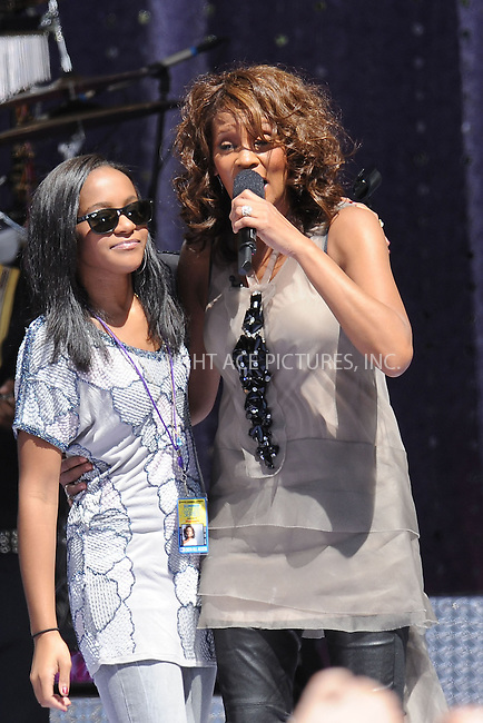 WWW.ACEPIXS.COM . . . . . ....September 1 2009, New York City....Singer Whitney Houston (with Bobbi Kristina Brown) performed in Central Park on ABC's 'Good Morning America' on September 1 2009 in New York City....Please byline: KRISTIN CALLAHAN - ACEPIXS.COM.. . . . . . ..Ace Pictures, Inc:  ..tel: (212) 243 8787 or (646) 769 0430..e-mail: info@acepixs.com..web: http://www.acepixs.com