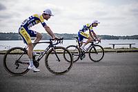 Edward Planckaert (BEL/Sport Vlaanderen Baloise) and Thomas Sprengers (BEL/Sport Vlaanderen Baloise) pre race. <br /> <br /> Binckbank Tour 2018 (UCI World Tour)<br /> Stage 7: Lac de l'eau d'heure (BE) - Geraardsbergen (BE) 212.7km