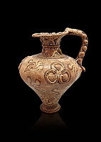 The Minoan decorated ritual Ewer From Poros with marine reliefs ,Poros Heraklion 1450 BC; Heraklion Archaeological  Museum, black background<br /> <br /> This elegant Ewer excavated from Poros is a fine example of the matute marine style of Minoan Ewer. The body is covered with  calligraphic network of dotted scale patterns, indicating the sea, in which nautili swim amongst rocks and seaweed. This style of Ewer was made in specialist workshops in the Knossos area and can be attributed to the same worksop that made ewers excavated from Zakros room IV-V. and another in Marseilles Museum