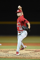 Palm Beach Cardinals pitcher Josh Lucas (33) delivers a pitch during a game against the Lakeland Flying Tigers on April 13, 2015 at Joker Marchant Stadium in Lakeland, Florida.  Palm Beach defeated Lakeland 4-0.  (Mike Janes/Four Seam Images)