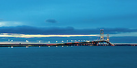A pre-dawn view of the majestic Mackinac Bridge on an early December morning. St. Ignace, MI