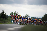 Team Lotto-Soudal leads the peloton over the Hautes Fagnes Plateau, escorting race leader André Greipel (DEU/Lotto-Soudal) safely through the stage<br /> <br /> stage 4: Hotel Verviers - La Gileppe (187km)<br /> 29th Ster ZLM Tour 2015