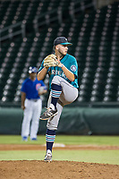AZL Mariners relief pitcher Tommy Romero (51) delivers a pitch to the plate against the AZL Cubs on August 4, 2017 at Sloan Park in Mesa, Arizona. AZL Cubs defeated the AZL Mariners 5-3. (Zachary Lucy/Four Seam Images)