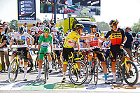 18th July 2021; Paris, France; VINGEGAARD Jonas (DEN) of JUMBO-VISMA, POGACAR Tadej (SLO) of UAE TEAM EMIRATES, CAVENDISH Mark (GBR) of DECEUNINCK - QUICK-STEP, POELS Wouter (NED) of BAHRAIN VICTORIOUS, VAN AERT Wout (BEL) of JUMBO-VISMA during stage 21 of the 108th edition of the 2021 Tour de France cycling race, the stage of 108,4 kms between Chatou and finish at the Champs Elysees in Paris.