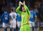 St Johnstone v Rosenborg....25.07.13  Europa League Qualifier<br /> Alan Mannus aplauds the fans at full time<br /> Picture by Graeme Hart.<br /> Copyright Perthshire Picture Agency<br /> Tel: 01738 623350  Mobile: 07990 594431