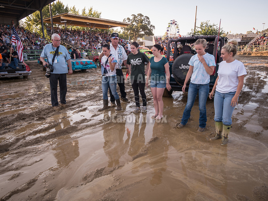 Day 4 of the Amador County Fair, Plymouth, Calif.<br /> Destruction Derby<br /> <br /> traditional mud bath for the Miss Amador Scholarship contestants opening the annual car smash