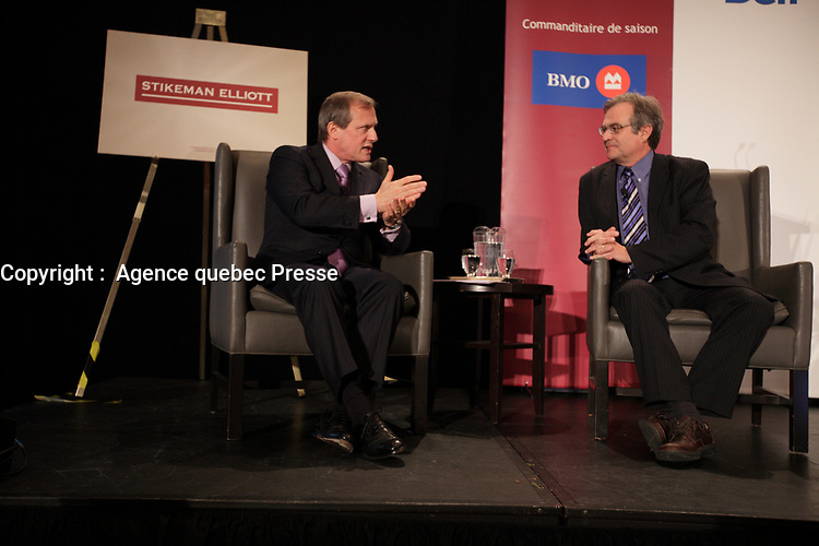 September 26 2012 - Montreal Quebec CANADA - Louis Audet, President & CEO of COGECO et Cogeco Cable, at the Canadian Club of Montreal's podium.<br /> <br /> PHOTO :  Agence quebec Presse -  Pierre Roussel